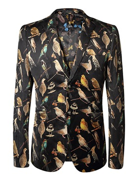 Ericdress Bird Print Mens Slim Fit Blazer Jacket