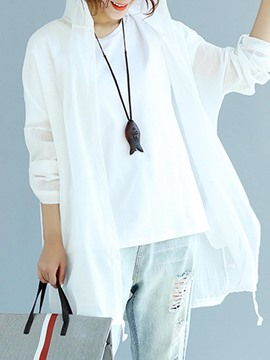 Ericdress Loose Hooded Mid-Length Trench Coat