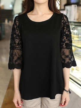 Ericdrress Loose Lace Patchwork 3/4 Length Sleeves Tee Shirt