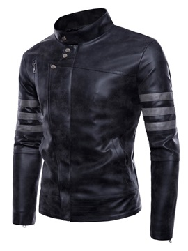 Ericdress Zipper Stripe Stand Collar Mens PU Jacket