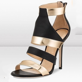 Ericdress Color Block Open Toe Zipper Stiletto Sandals