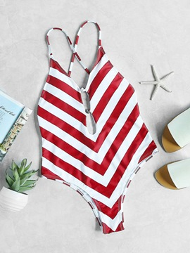Ericdress Stripe Red One Piece Swimwear Monokini