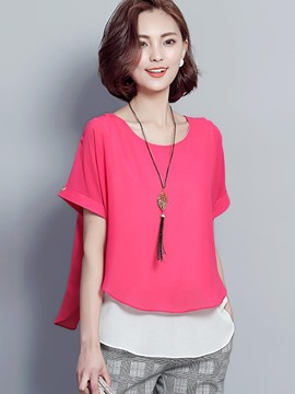 Ericdress Double-Layer Pullover Scoop Short Sleeve Blouse
