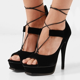 Ericdress Peep Toe Platform Lace-Up Stiletto Sandals
