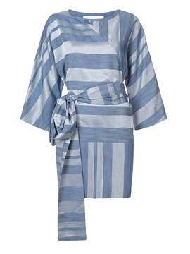 Ericdress Lace Up Stripe Color Block Casual Dress