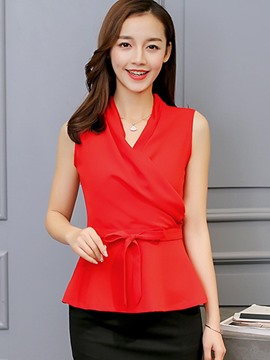 Ericdress Slim Plain V-Neck Sleeveless Blouse