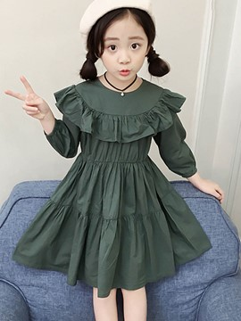 Ericdress Ruffles Nine Points Lantern Sleeve Girl's Cotton Dress