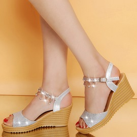 Ericdress Rhinestone Open Toe Plain Wedge Sandals