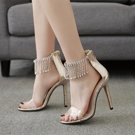 Ericdress Rhinestone Fringe Open Toe Stiletto Sandals