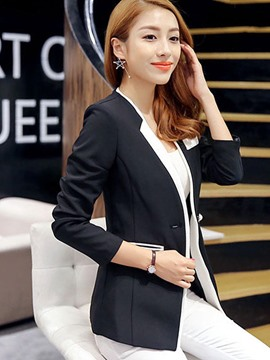 Ericdress Slim Notched Lapel Plain Patchwork Blazer