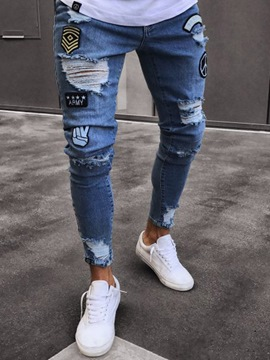 Men's Clothing Blue Ripped Worn Skinny Jeans