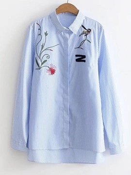 Ericdress Asymmetric Embroidery Single-Breasted Long Sleeve Blouse