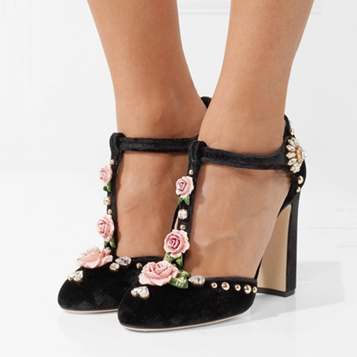 Ericdress Floral Rhinestone Round Toe Chunky Heel Pumps