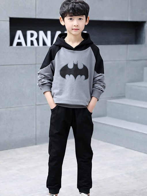 Ericdress Bat Print Patchwork Hoodie & Plain Pants Boy's Outfits