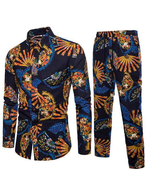 Ericdress Floral Print Mens Casual Suit Shirt & Pants