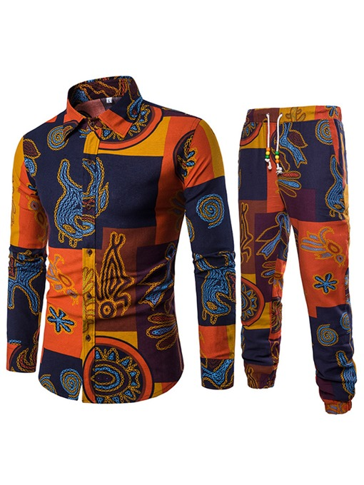Ericdress Print Color Block Mens Casual Suit