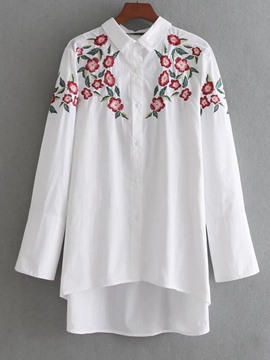 Ericdress Button Single-Breasted Floral Embroidery Long Sleeve Blouse
