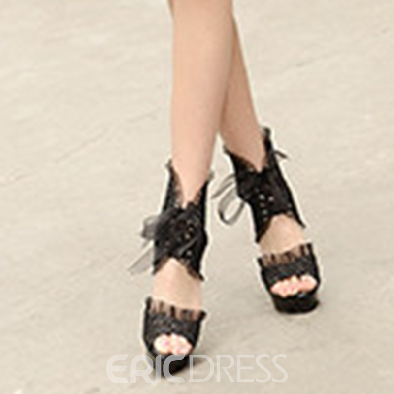 Ericdress Lace High-Cut Peep Toe Stiletto Heel Prom Shoes