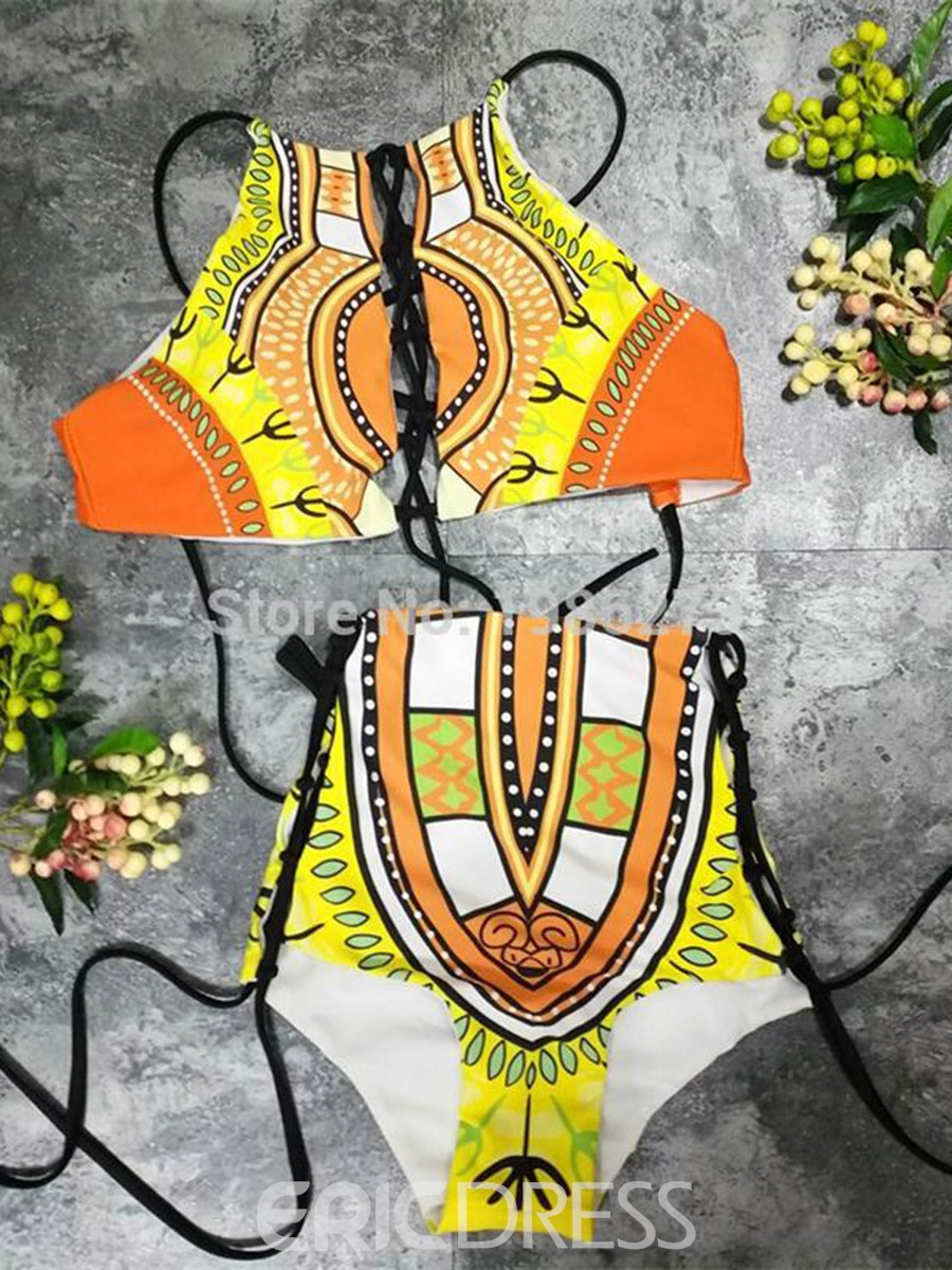 Ericdress Plus Size Dashiki African Print Hollow High Waist 2-Pcs Bikini Suits