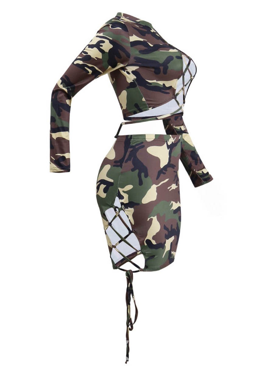 Ericdress Camouflage Women's Two Piece Set