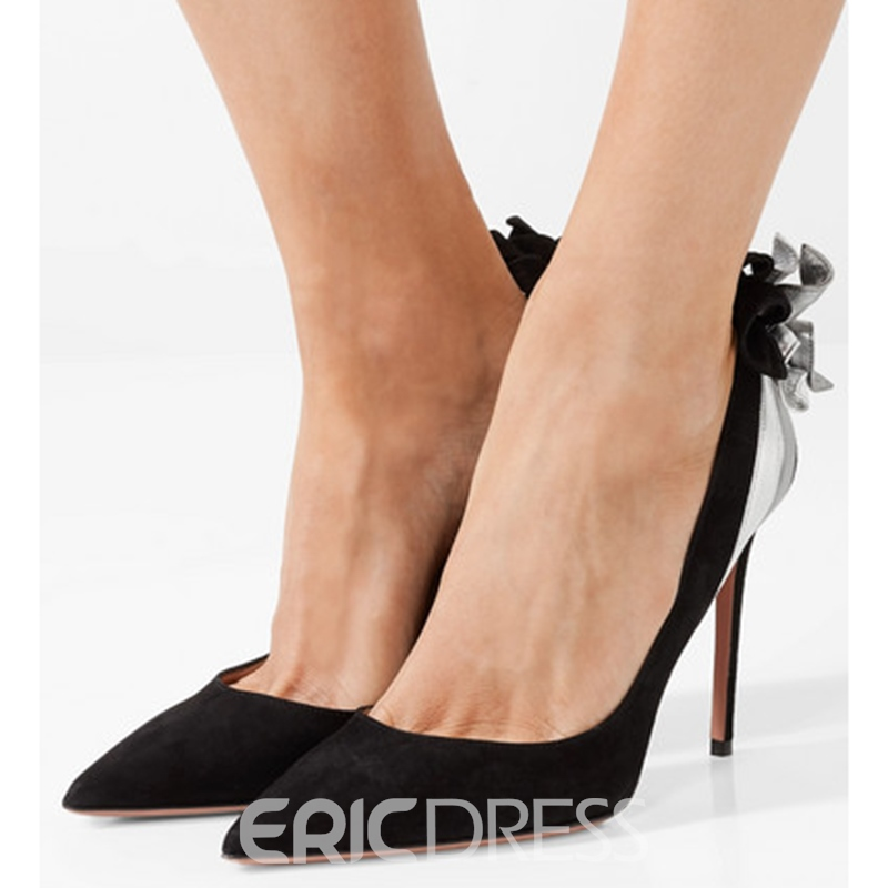 Ericdress Black Pointed Toe Patchwork Stiletto Heel Pumps