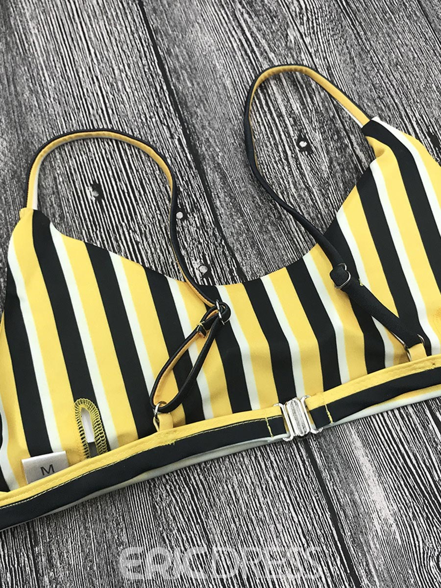 Ericdress Stripe Yellow Bikini Suits