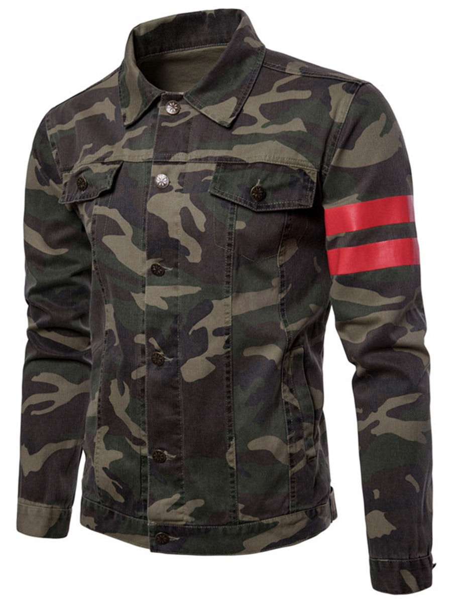 Ericdress Stripe Camouflage Mens Lapel Slim Thin Jacket