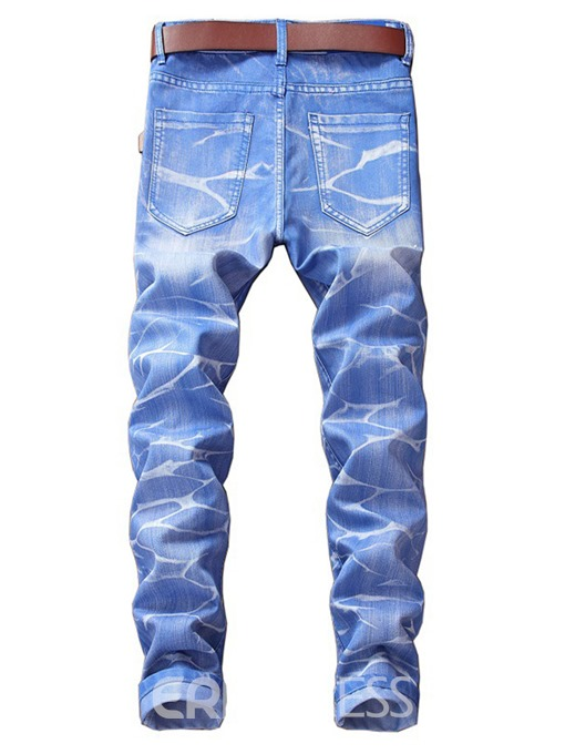 Ericdress Plain Straight Mens Cotton Denim Fabric Pants