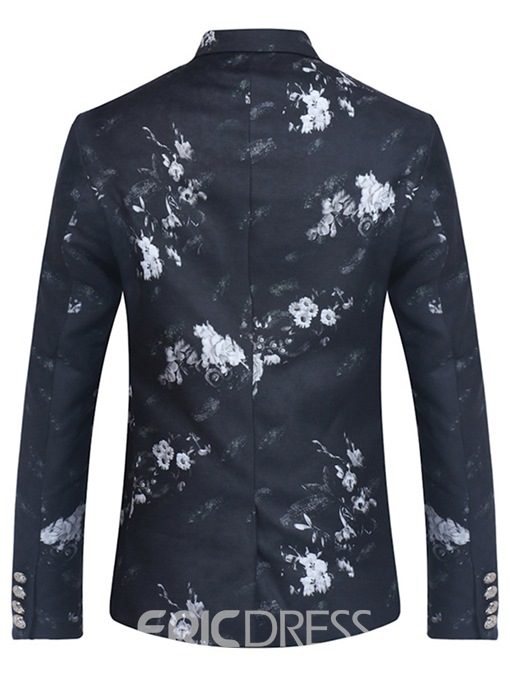 Ericdress Floral Print Mens Notched Lapel Slim Jacket Blazer