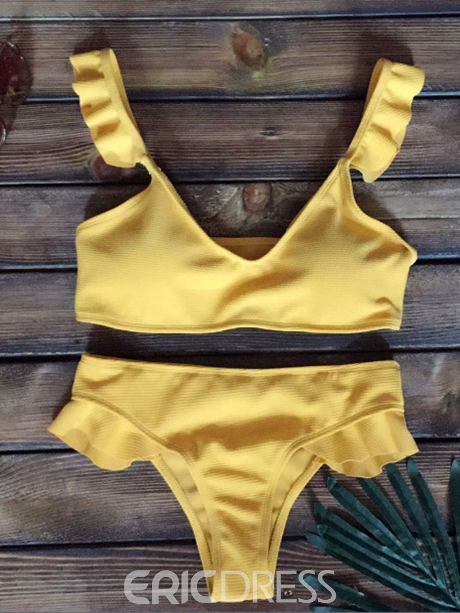 Ericdress Plain Ruffles Bikini Suits