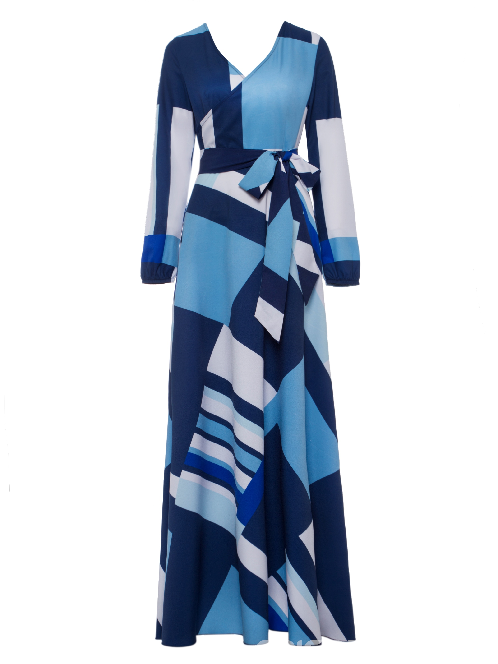 Ericdress V-Neck Lace-Up Geometric Print Women\'s Wrap Maxi Dress ...