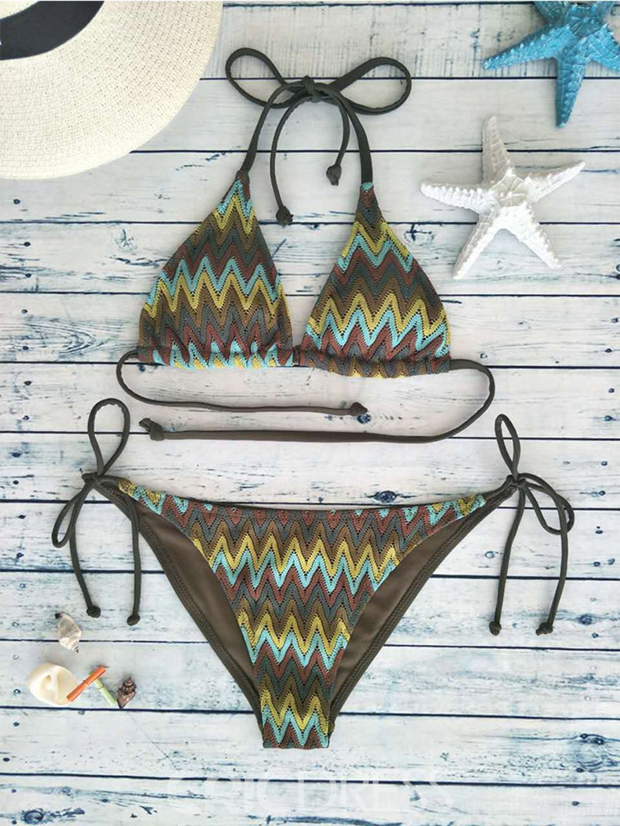 Ericdress Stripe Embroidery Halter Bikini Set