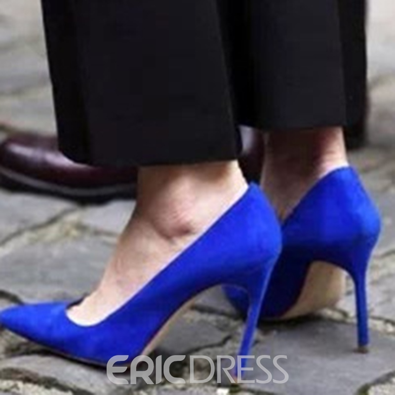 Ericdress Suede Plain Stiletto Heel Pointed Toe Pumps