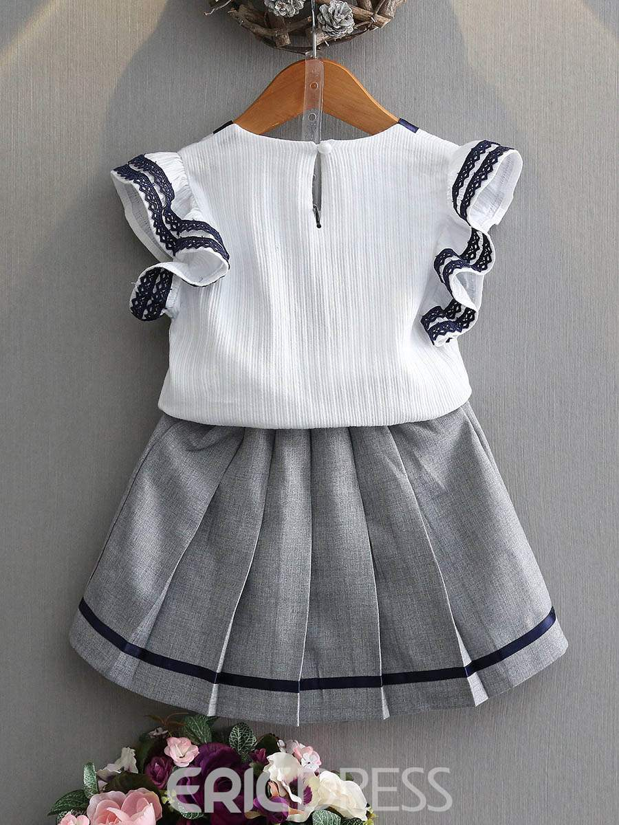Ericdress Bowknot Girl's Outfits Short Sleeve T Shirt Pleated Skirt