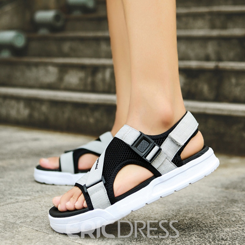 Ericdress Fashion Buckle Open Toe Plain Men's Sandals