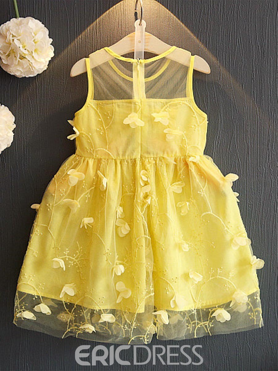 Ericdress Appliques Mesh Lace Girl's A-Line Sleeveless Princess Dress