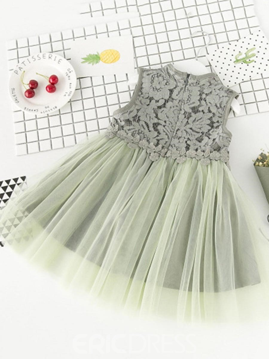 Ericdress Hollow Mesh Lace Girl's Color Block Sleeveless Ball Gown Dress
