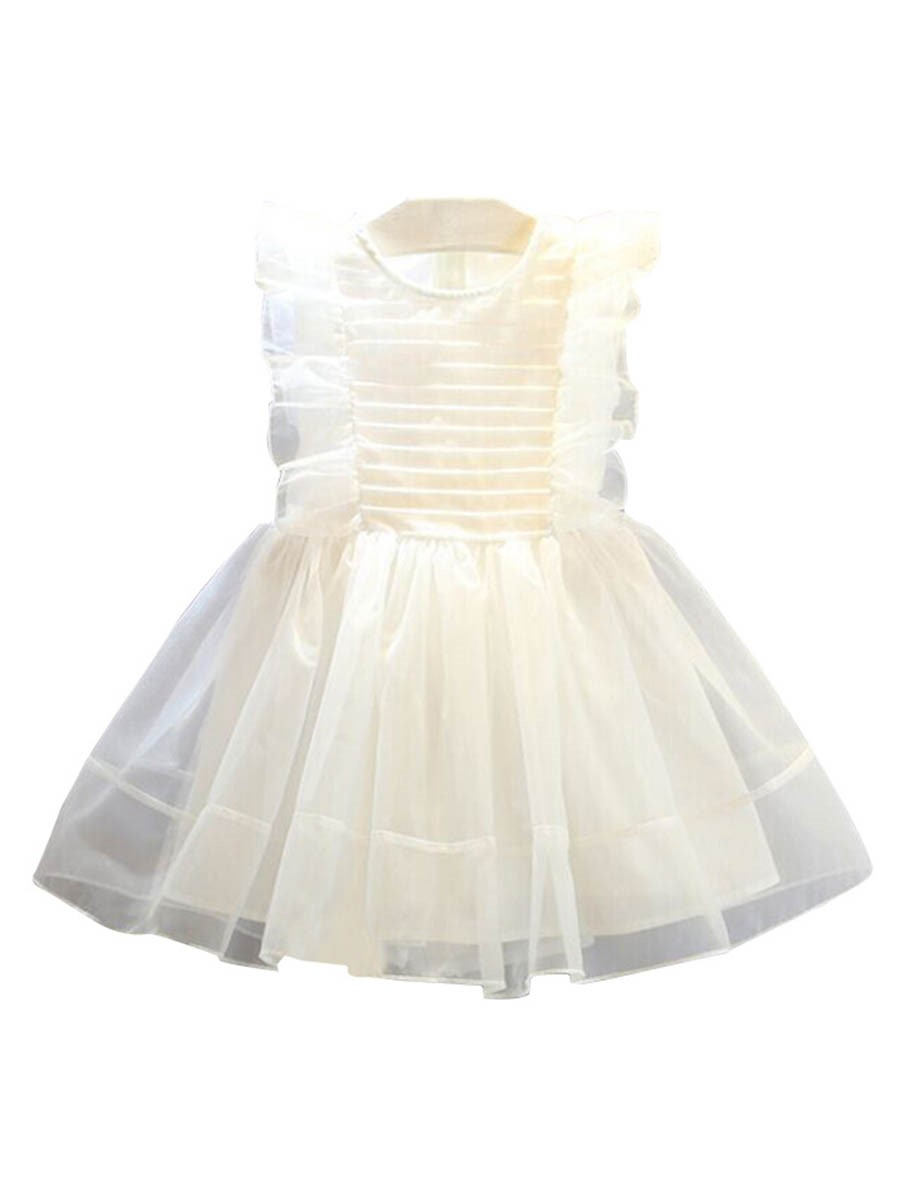 Ericdress Mesh Bowknot Ruffle Sleeve Girl's Ball Gown Princess Dress