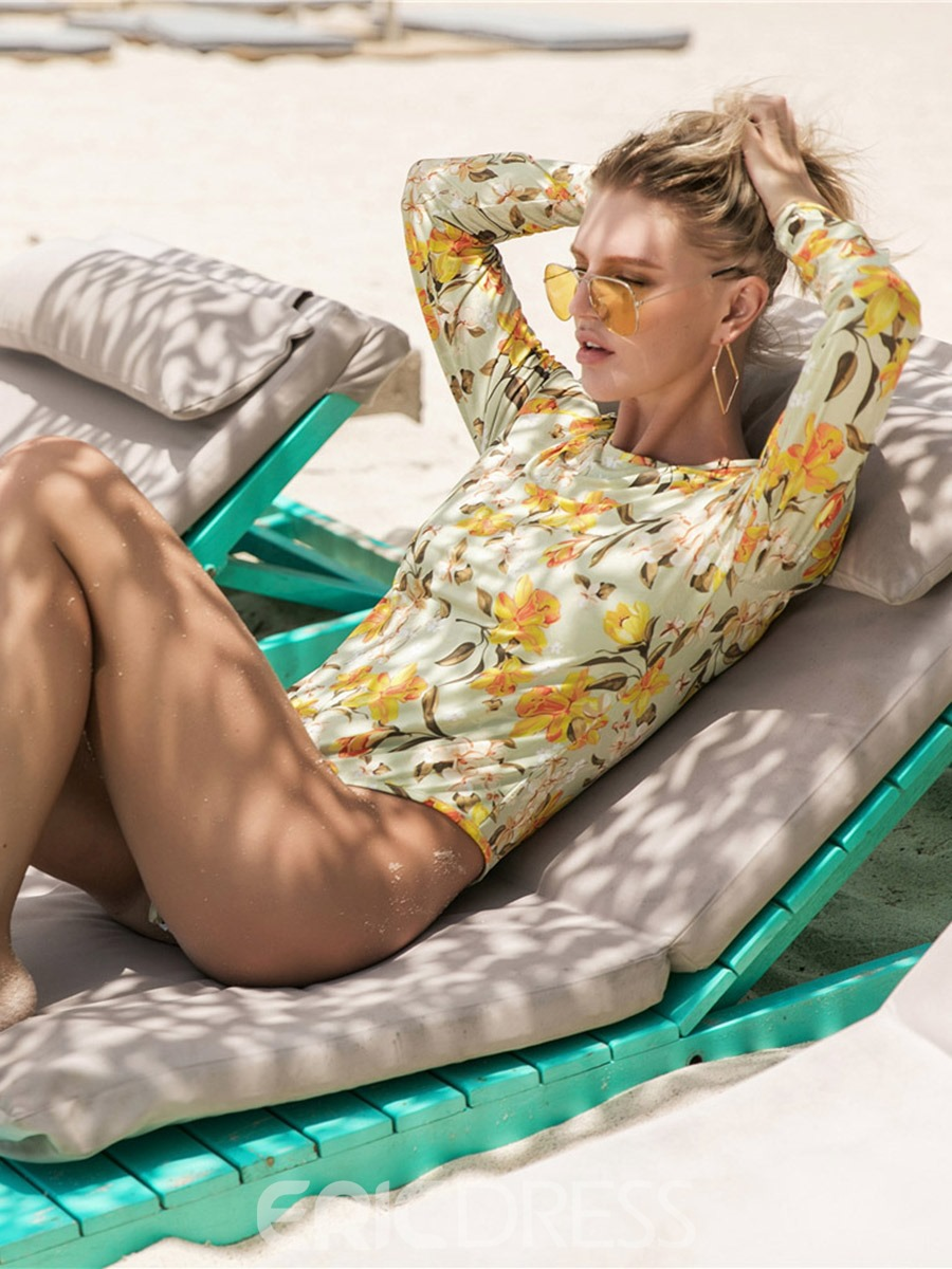 Ericdress Floral Beach Look Long Sleeve One Piece Bathing Suits