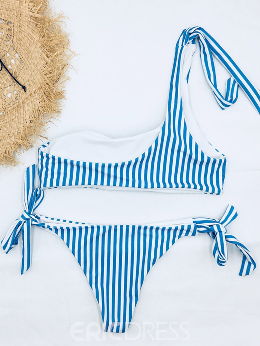 Ericdress Stripe One Shoulder Asymmetric Bowtie Bikini Suits