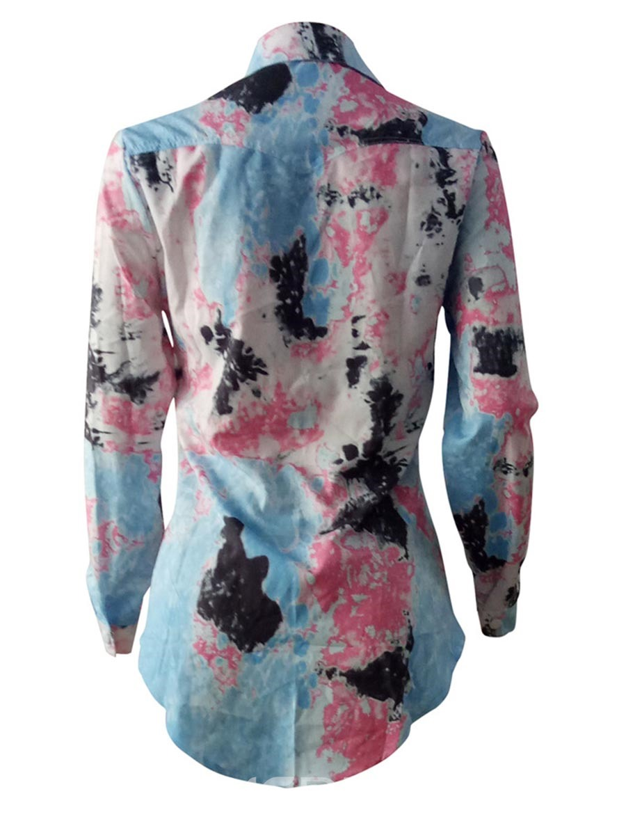 Ericdress Floral Print Single-Breasted Long Sleeve Blouse