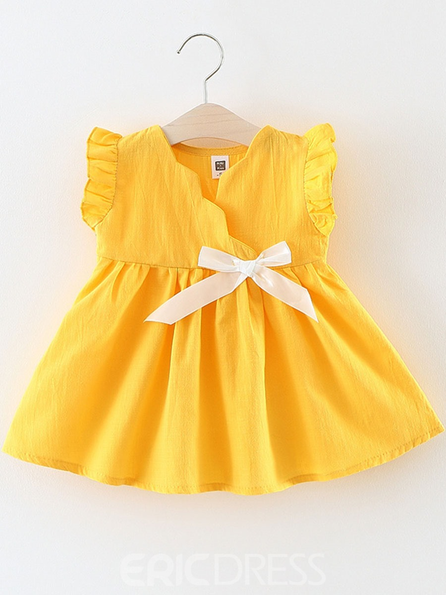Ericdress V-Neck Stringy Slevedge Girl's Bowknot Casual Dress
