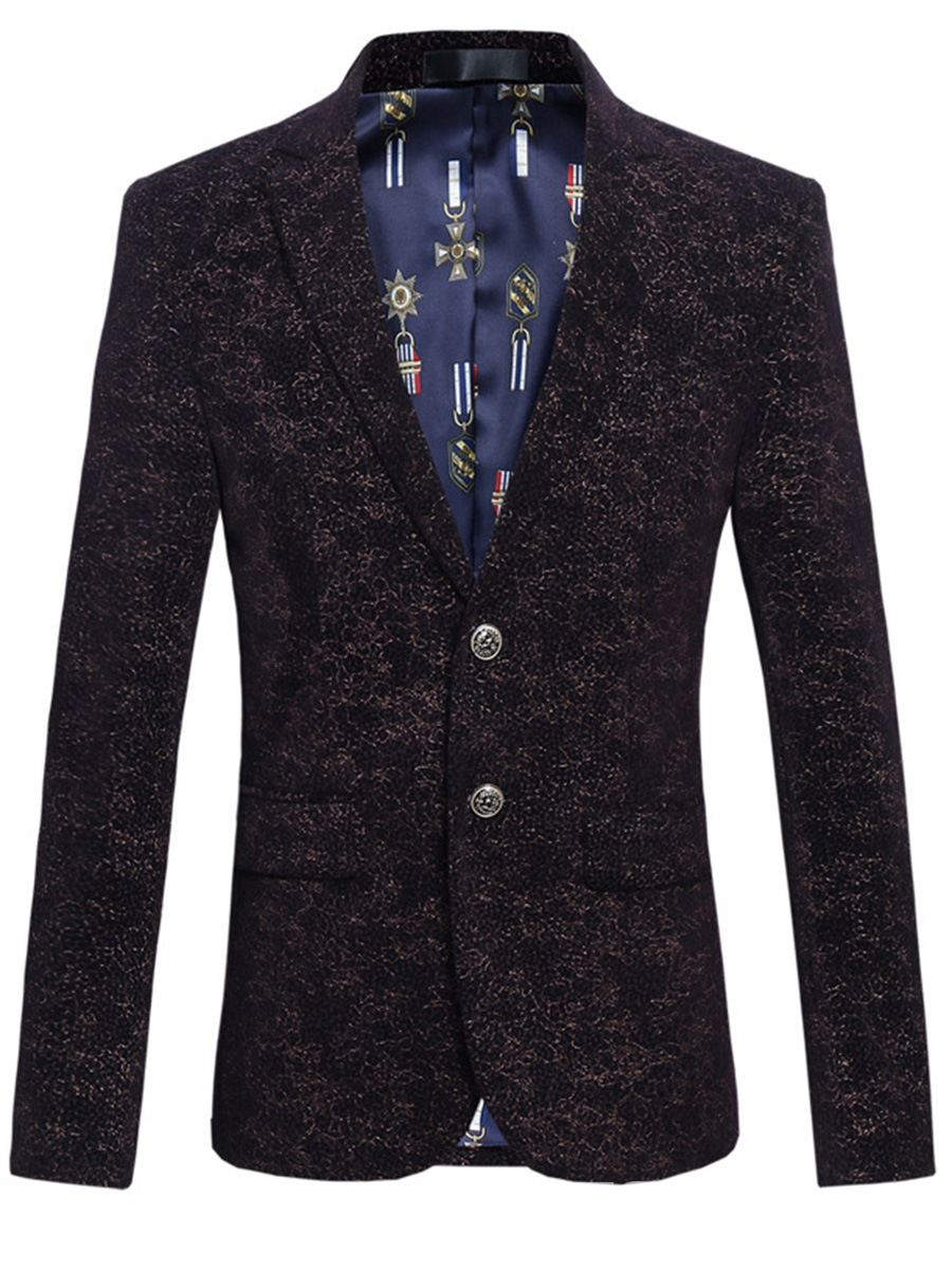 Ericdress Color Block Print Mens Two Button Jacket Blazer