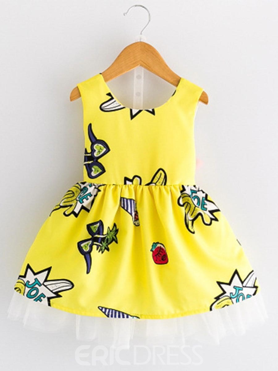 Ericdress Cartoon Backless Bowknot Girl's Sleeveless Dress