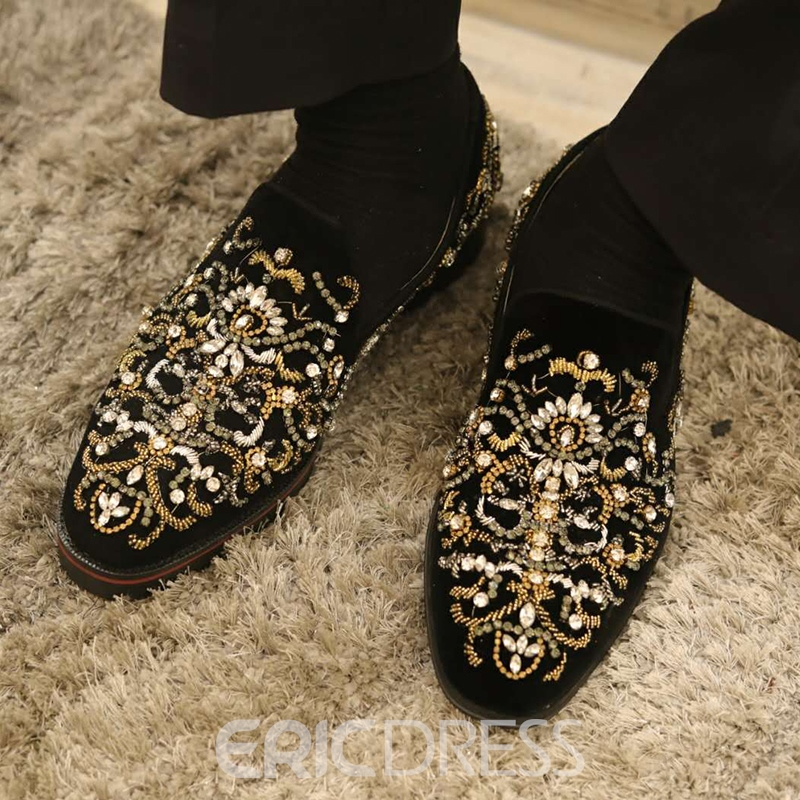 Ericdress Rhinestone Round Toe Slip-On Men's Casual Shoes