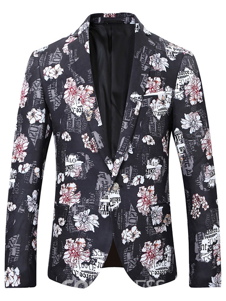 Ericdress Floral Print Color Block Mens Slim Jacket Blazer