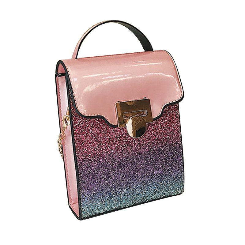 Ericdress Glossy PU Color Block Crossbody Bag