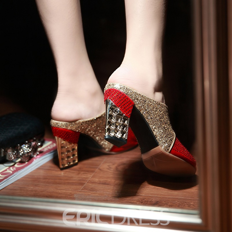 Ericdress Best-Selling Sequin Color Block Chunky Heel Mules Shoes
