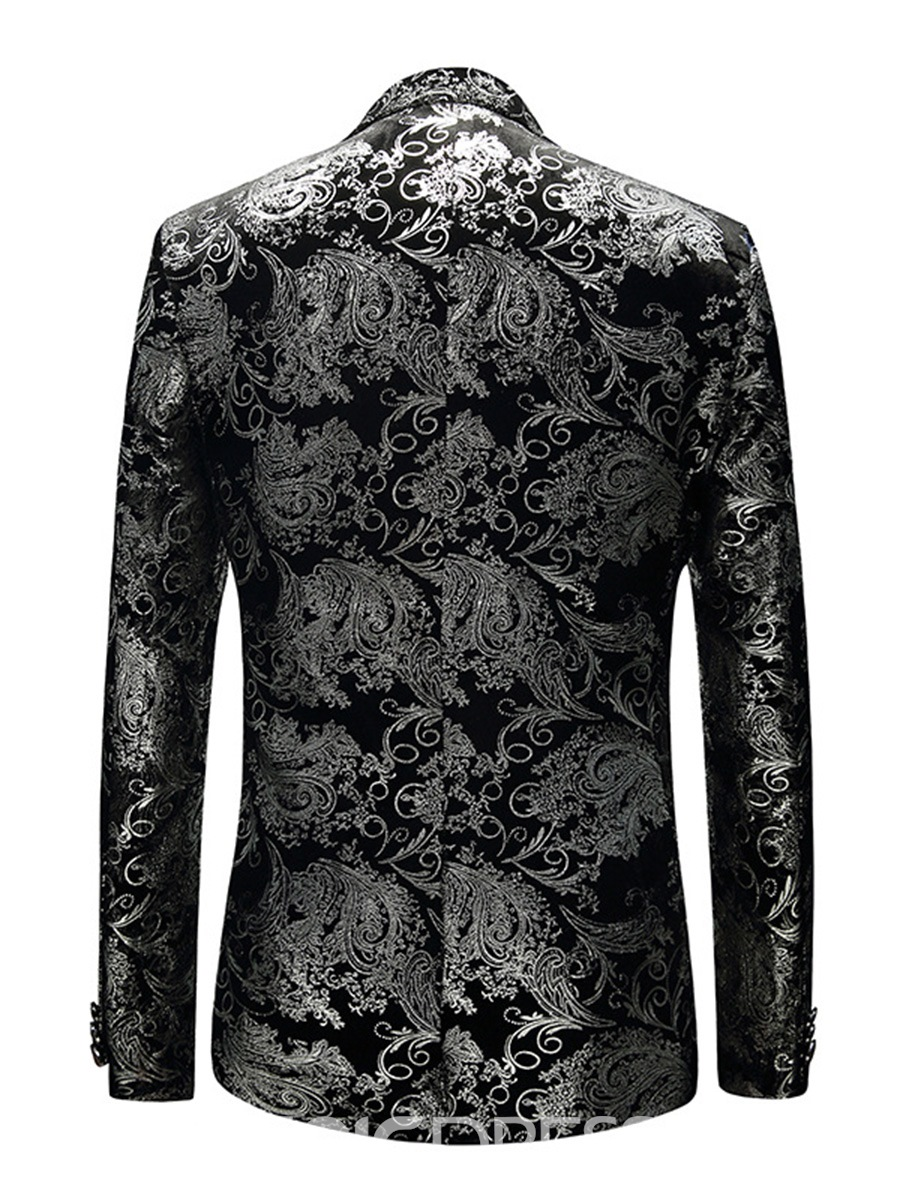 Ericdress Floral Print Mens Color Block Slim Jacket Blazer