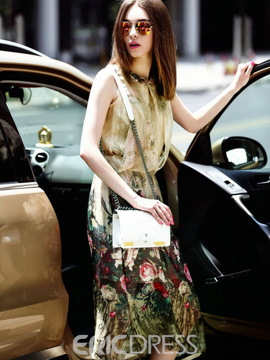 Ericdress meryl floral asimétrico de viaje look casual dress
